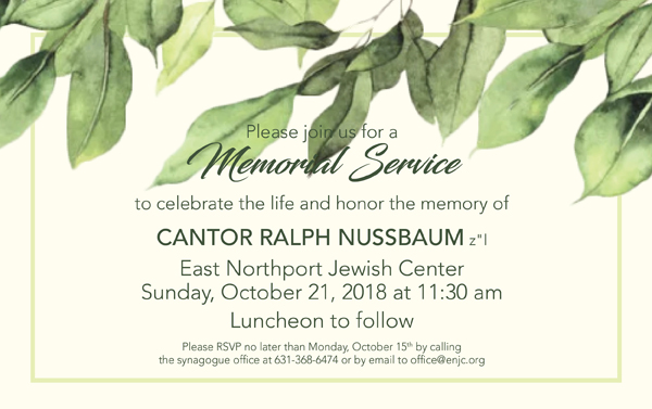 Memorial Service for Cantor Ralph Nussbaum